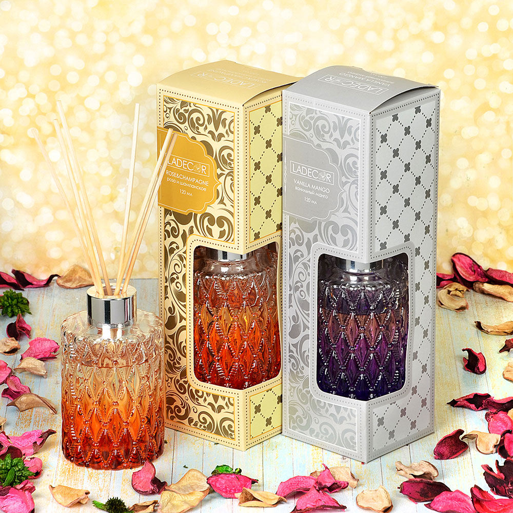 LADECOR Ароманабор 120мл с палочками с ароматами розы и шампанского, ванили и манго