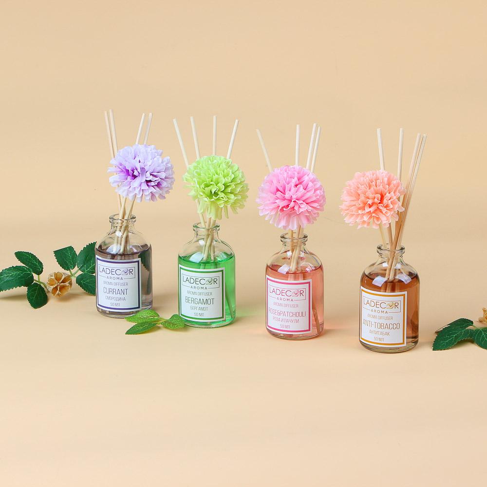 LADECOR Аромадиффузор с палочками и декором, 50мл, ароматы розы-пачули/бергамот/смородины/анти-табак
