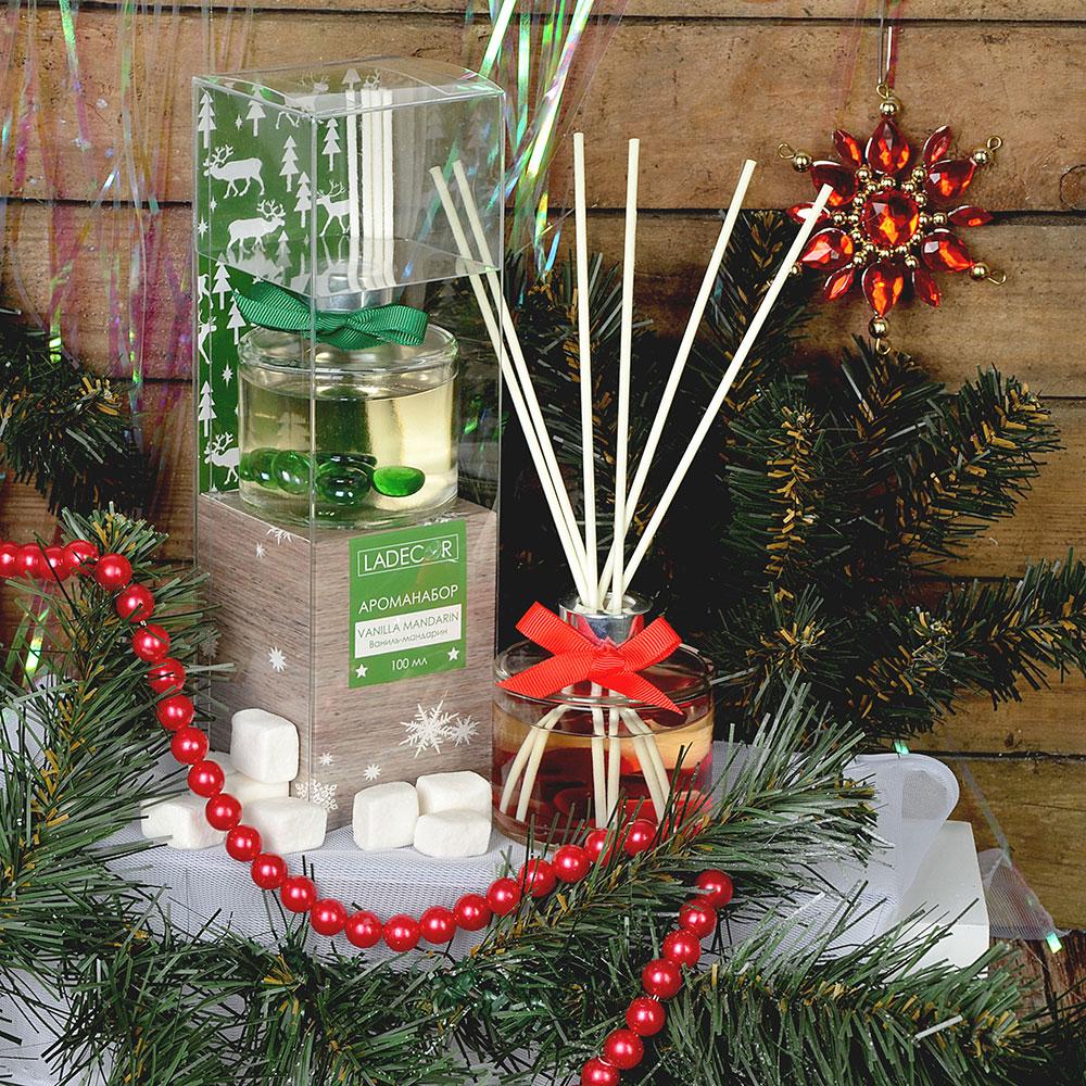 LADECOR Ароманабор 100мл с палочками, с ароматами рождественского пряника, ванили-мандарина