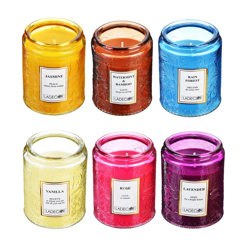LADECOR Свеча ароматическая, в стекле, 7х8,7 см, 6 ароматов