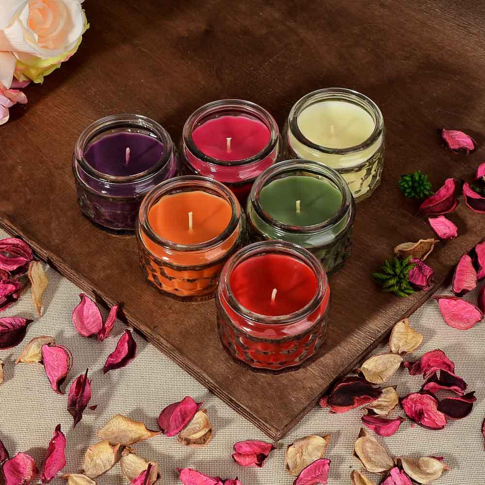 Свеча ароматическая, в стекле, 7,5х5,1 см, 6 ароматов