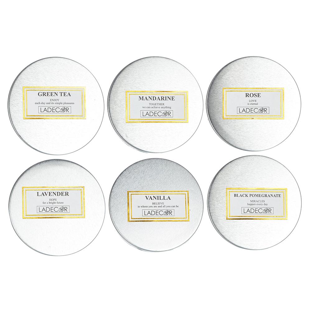 Свеча ароматическая LADECOR, в стекле, 7,5х5,1 см, 6 ароматов