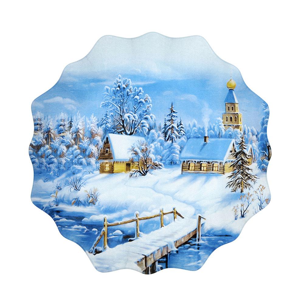 Волшебница-Зима Блюдо круглое, 20см, стекло