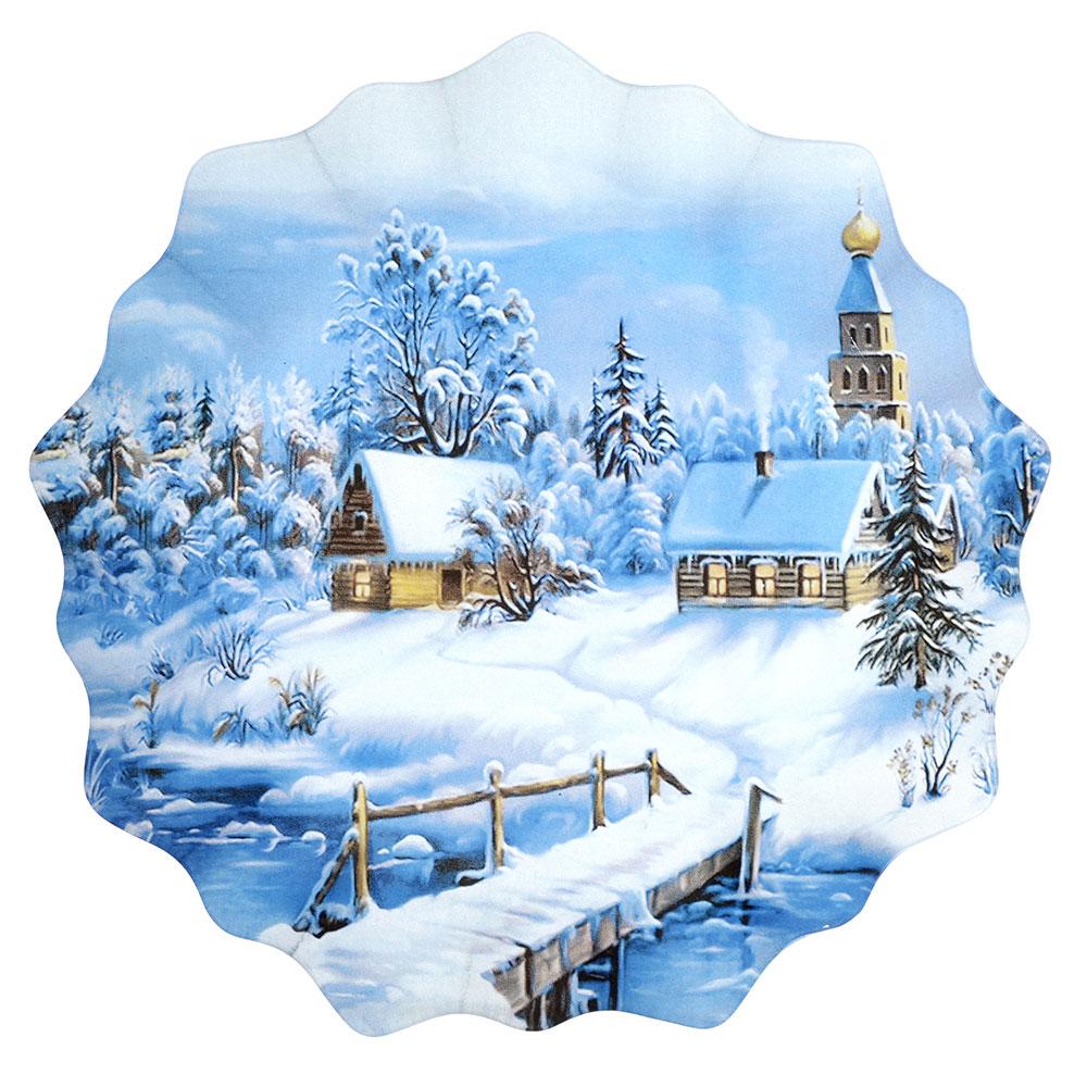 Волшебница-Зима Блюдо круглое, 25см, стекло