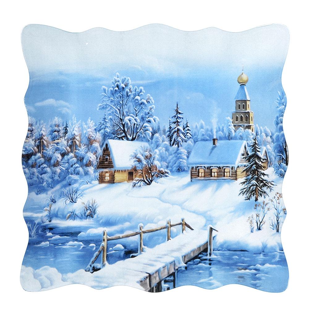Волшебница-Зима Блюдо квадратное, 25см, стекло