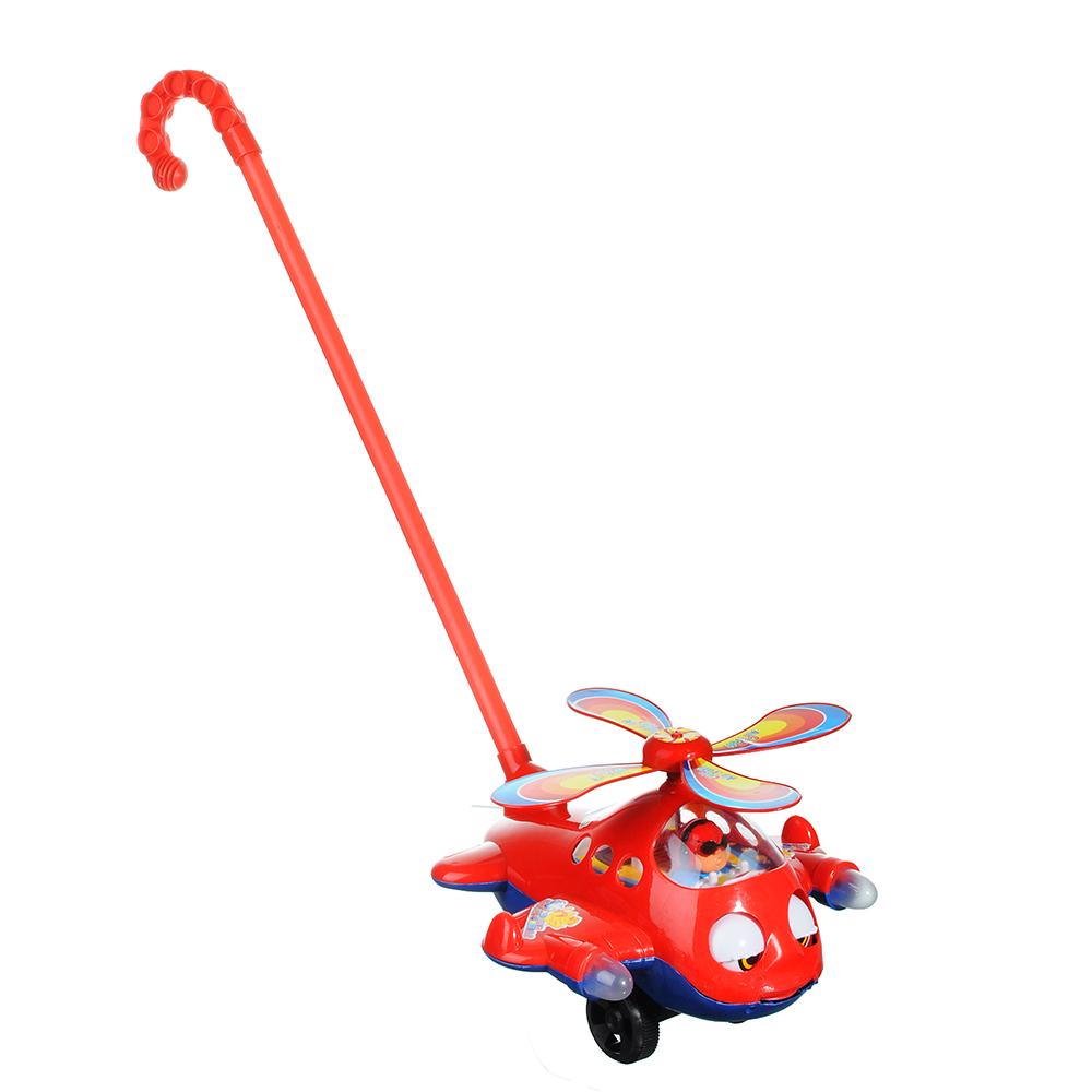 "Каталка в виде вертолета с хлопающими глазами"", пластик, ручка 43см22х24х17см, 3 цвета"