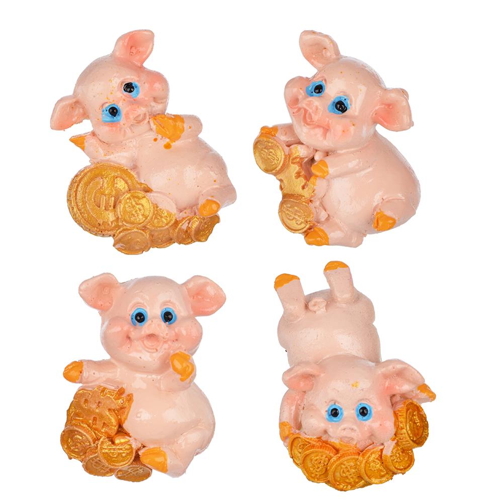 СНОУ БУМ Магнит в виде свинки с монетами, полистоун, 6,5 см, 4 дизайна