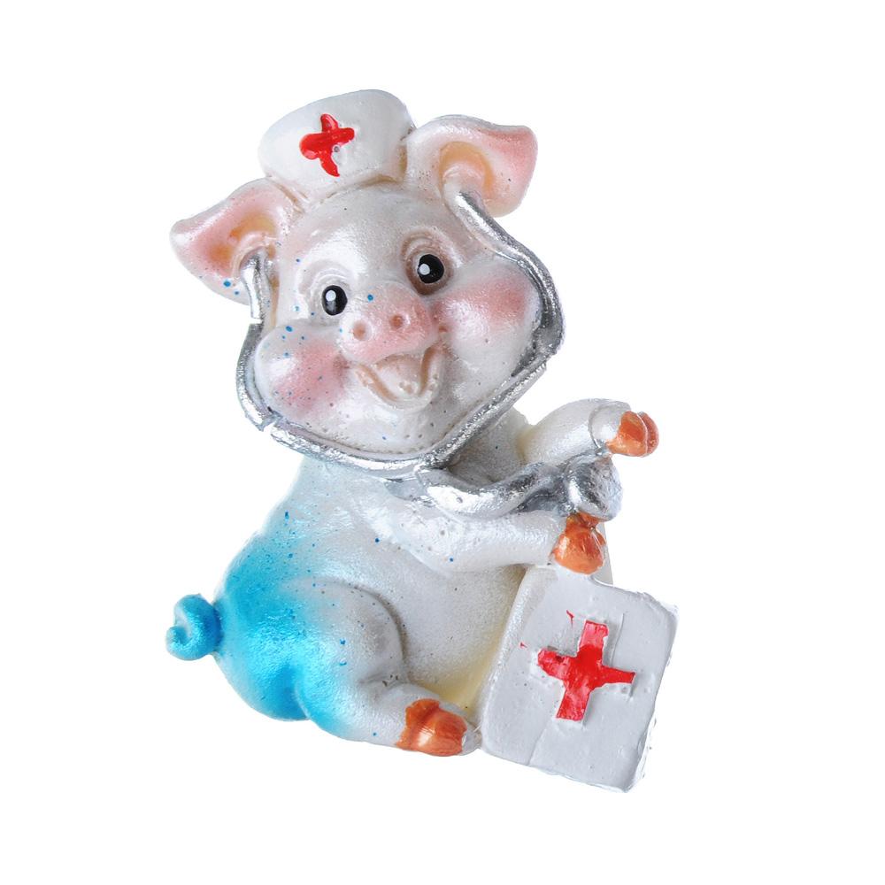 СНОУ БУМ Магнит в виде свинки с профессиями, полистоун, перламутр, 4 дизайна