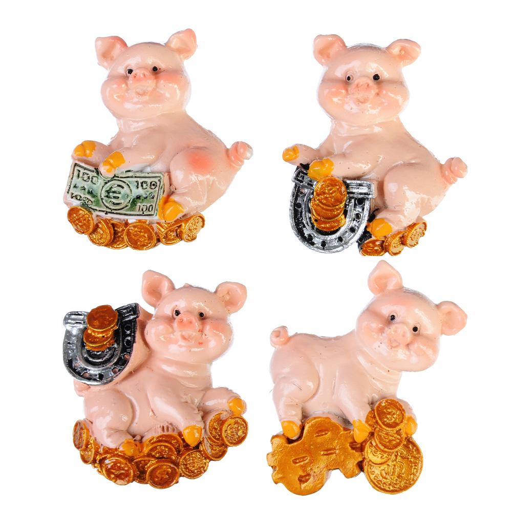 СНОУ БУМ Магнит в виде свинки на удачу, полистоун, 4 дизайна