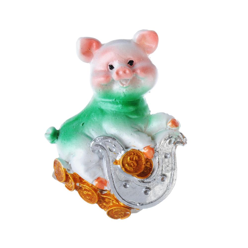 СНОУ БУМ Магнит в виде свинки с подковой, полистоун, 6,5 см, перламутр, 4 дизайна