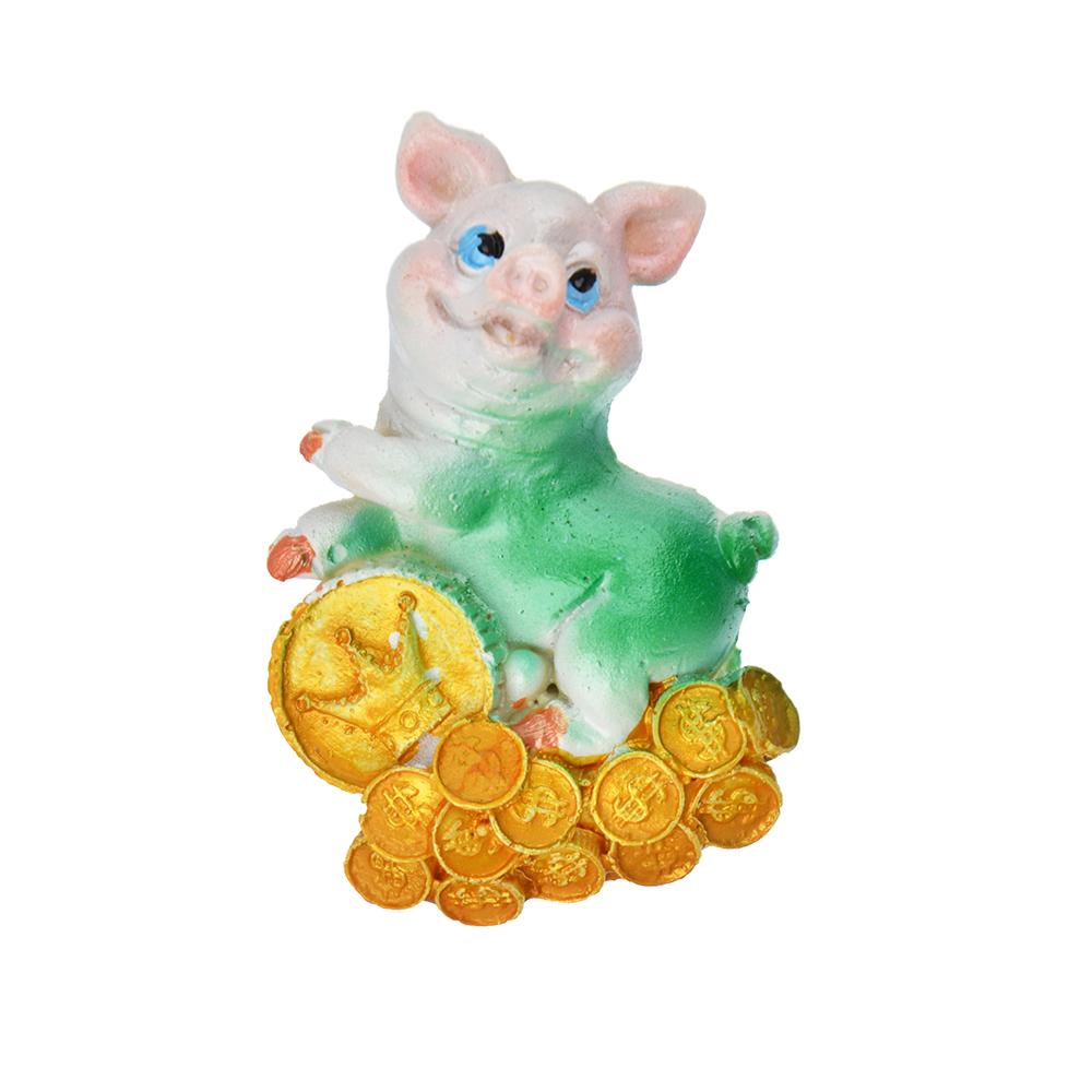 СНОУ БУМ Магнит в виде свинки с богатством, полистоун, 6,5 см, перламутр, 4 дизайна