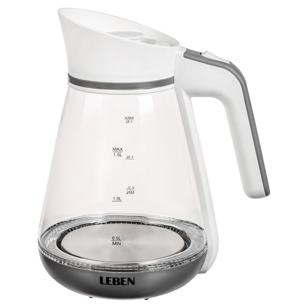 Чайник электрический 1,5 л LEBEN, 1850 Вт, стекло-кувшин, LED подсветка
