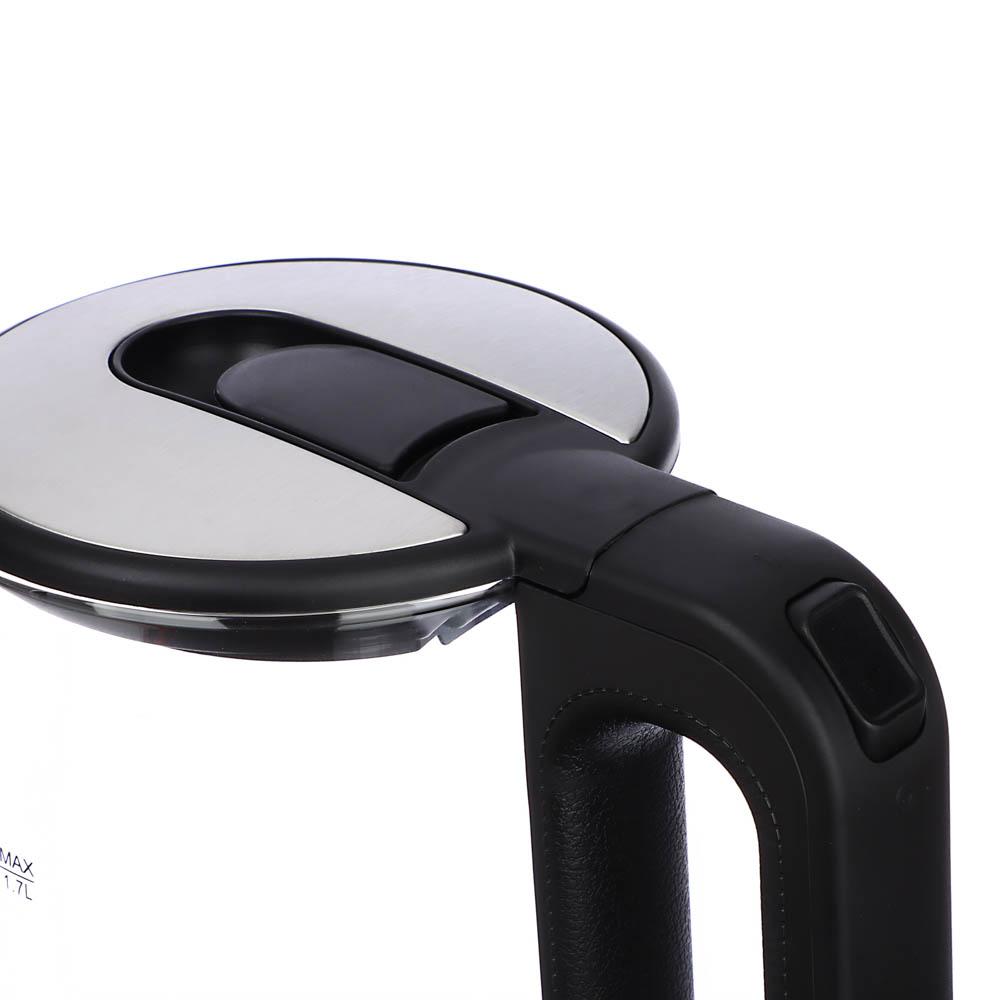 LEBEN Чайник электрический 1,7л, 1850Вт, скрытый нагр.элемент, автооткл., стекло, HHB1748