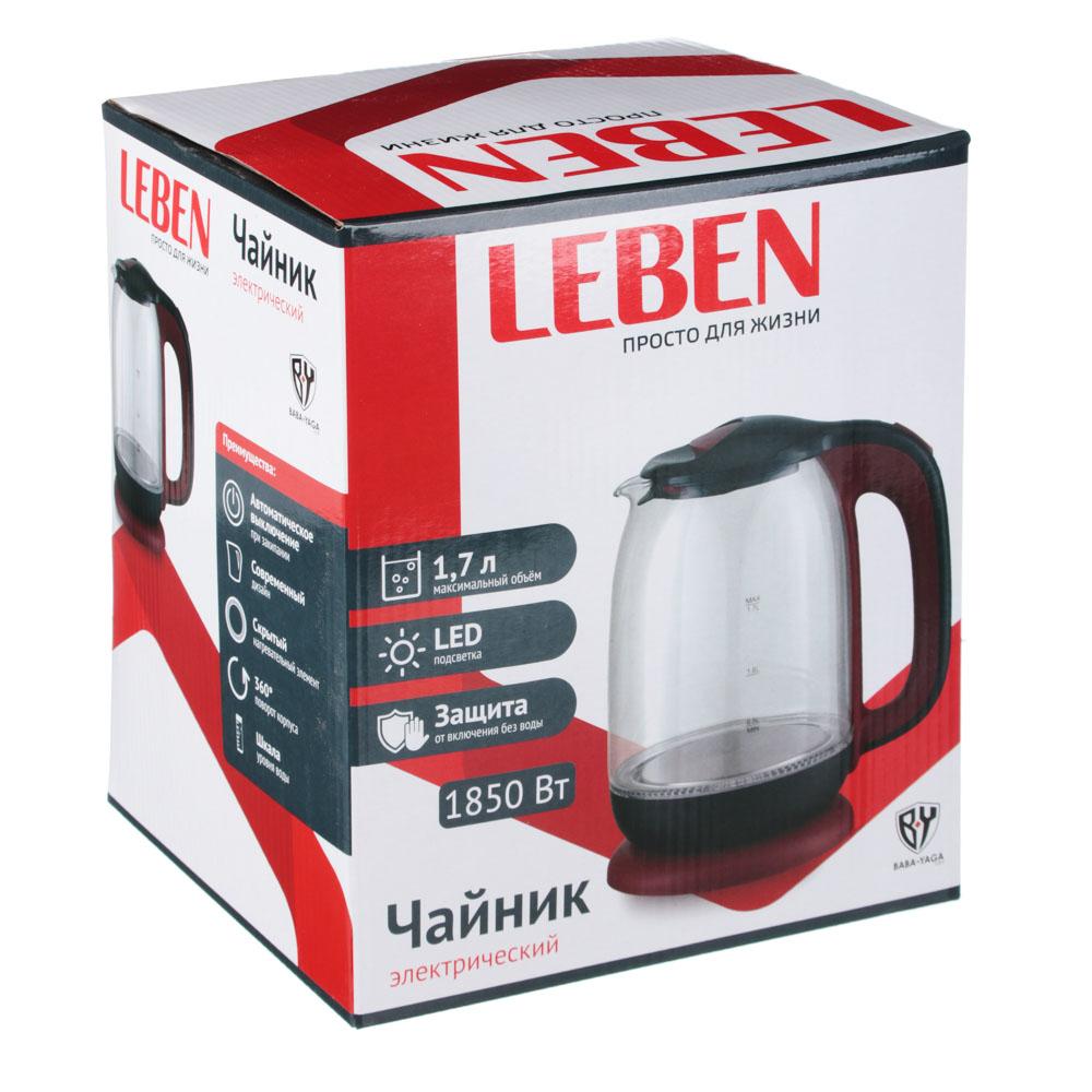 Чайник электрический 1,7 л LEBEN, 1850 Вт, стекло/пластик, красный