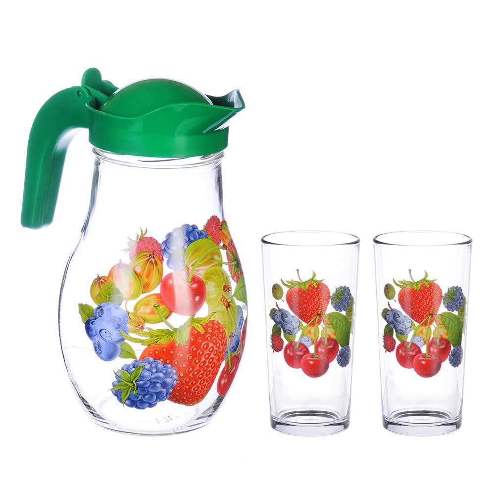 Набор: стакан 250 мл- 2шт, кувшин 1,7л с пласт. крышкой, стекло, подар/уп, арт.1607/2- Д