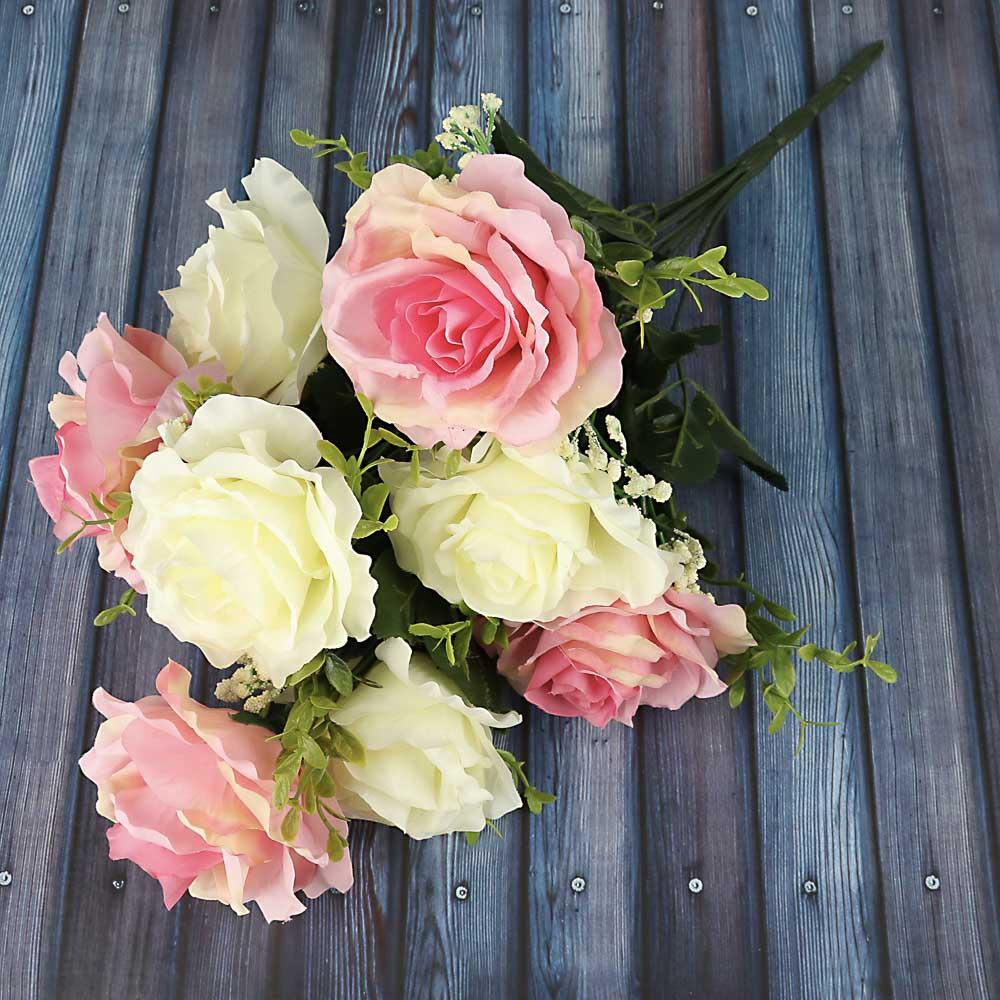 Цветок искусственный в виде роз, букет, 43 см, пластик, полиэстер, 2 цвета