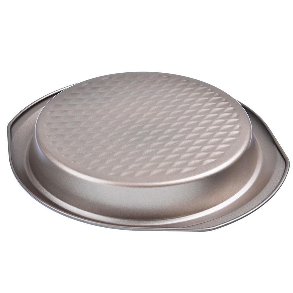 Форма для выпечки круглая, угл.сталь, 29,5х27х3,5см, золотистое покрытие