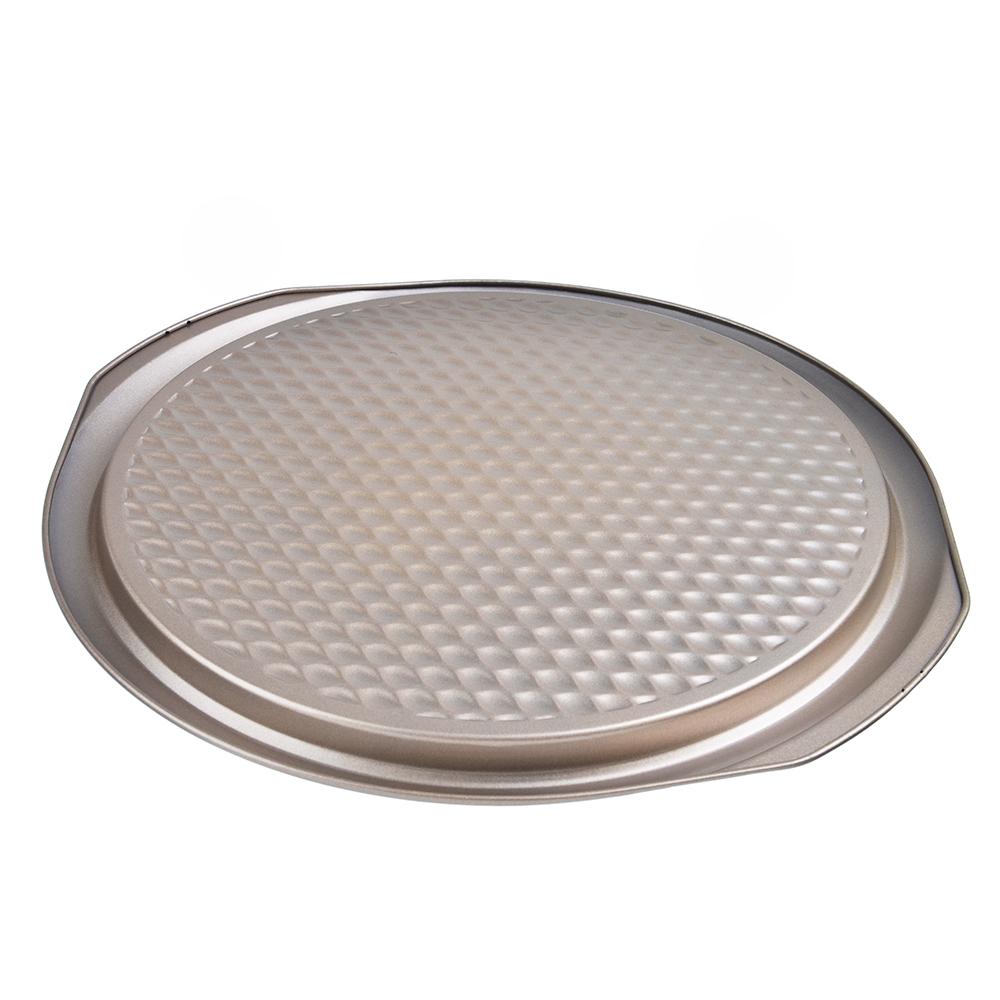 Форма для пиццы, угл.сталь,37х35х2см, золотистое покрытие