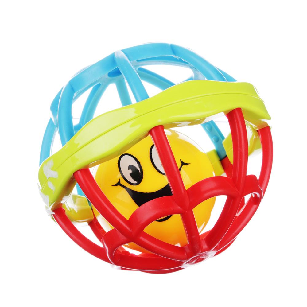 МЕШОК ПОДАРКОВ Погремушка гибкая в виде шарика, пластик, d-11см, 6 шт в боксе