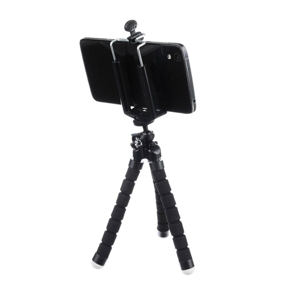 BY Штатив для телефона, гибкий, прорезиненный, 24 см, 1 цвет: черный