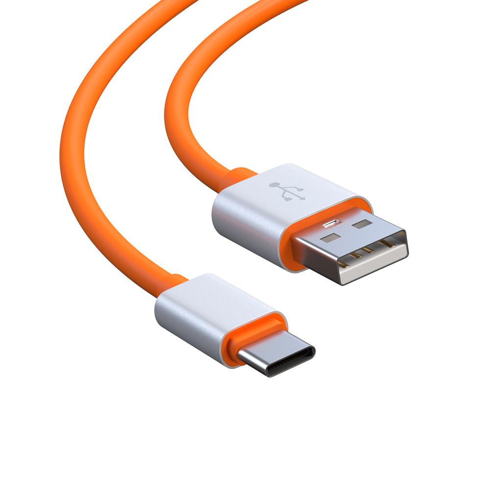 BY Кабель для зарядки Type-C, 1м, 2А, прорезиненный, оранжевый