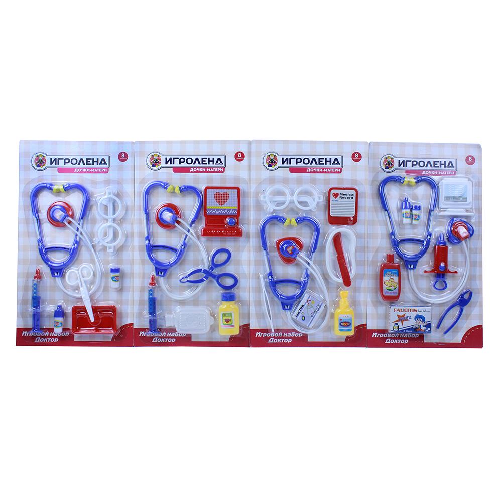 """ИГРОЛЕНД Набор игровой """"Доктор"""", 8 пр., пластик, 21,5х38х3см, 4 дизайна"""