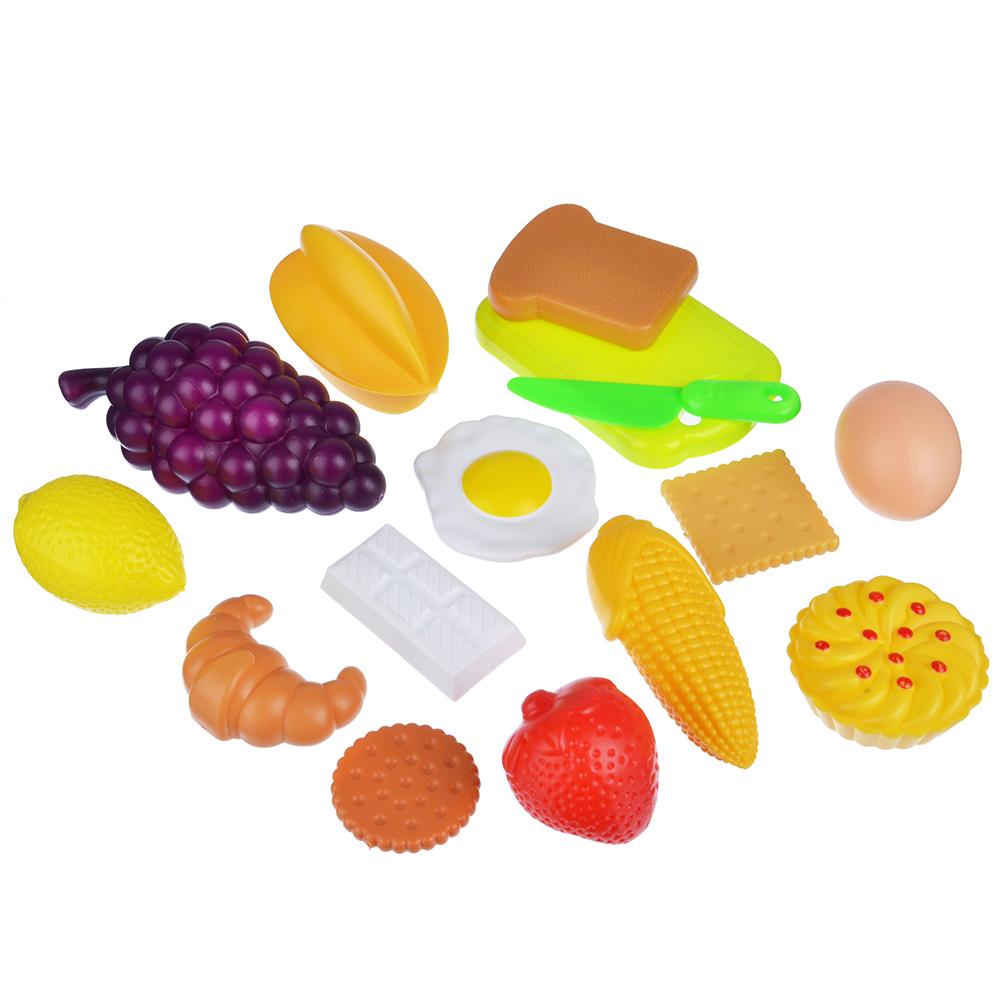 ИГРОЛЕНД Набор продуктов в сетке, 15 пр., пластик, 15х21х15см, 2 дизайна