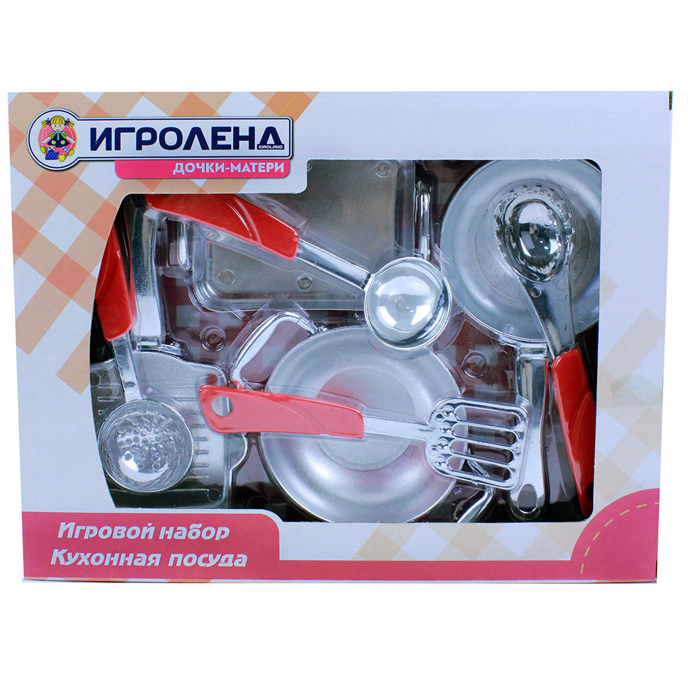 "Набор игровой ""Кухонная посуда"", 7 пр., пластик, 24х31х7,5см, 2 дизайна"