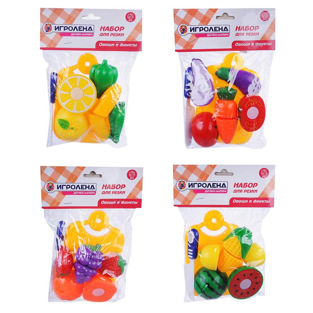 ИГРОЛЕНД Набор овощей и фруктов для резки, 5пр., пластик, 17х20,5х4,5см, 4 дизайна