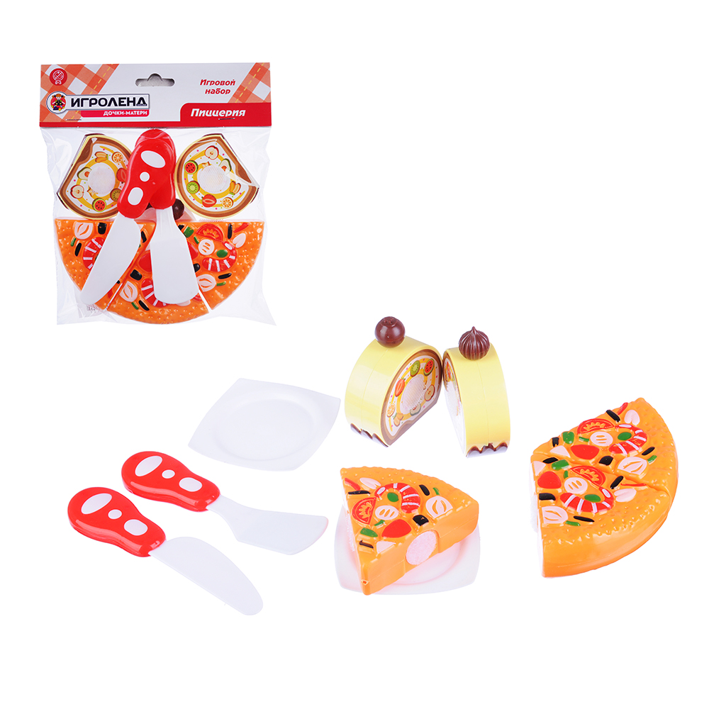 ИГРОЛЕНД Набор в виде пиццы для резки, 7пр., пластик, 17х18х5см, 6 дизайнов