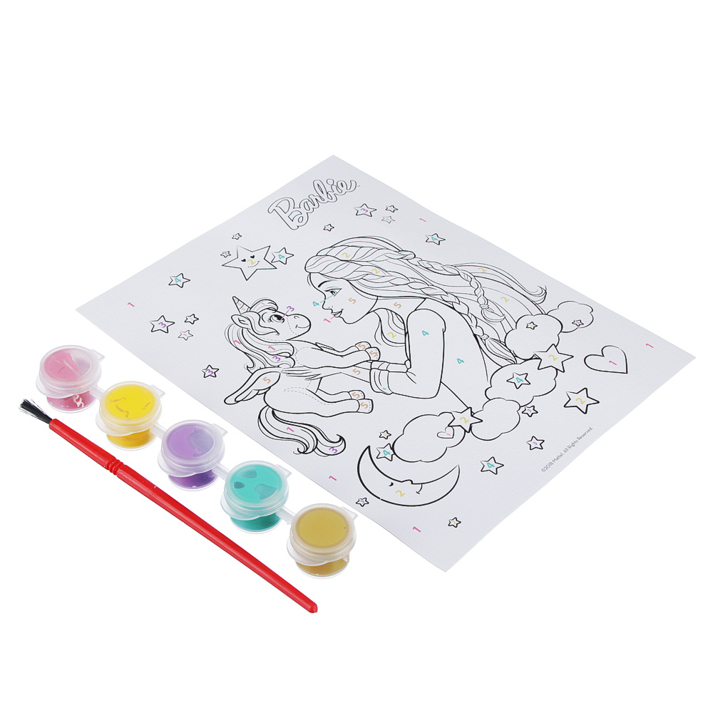 MATTEL Живопись по номерам (в компл. краски, кисточка), бумага, пластик, акрил, 13,5х20см, 4 дизайна