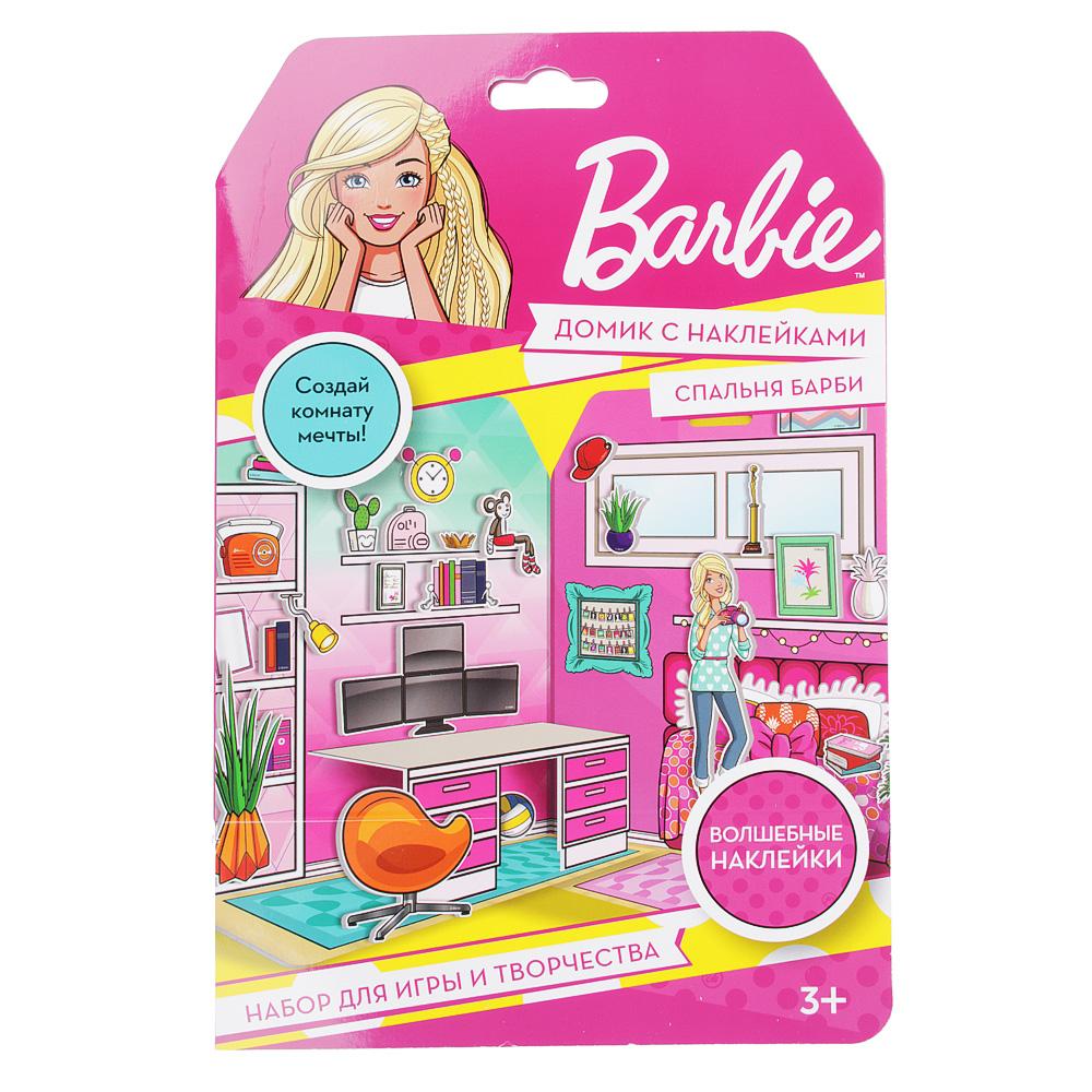 Barbie Домик из картона с комплектом наклеек, бумага, PVC, 23x35см