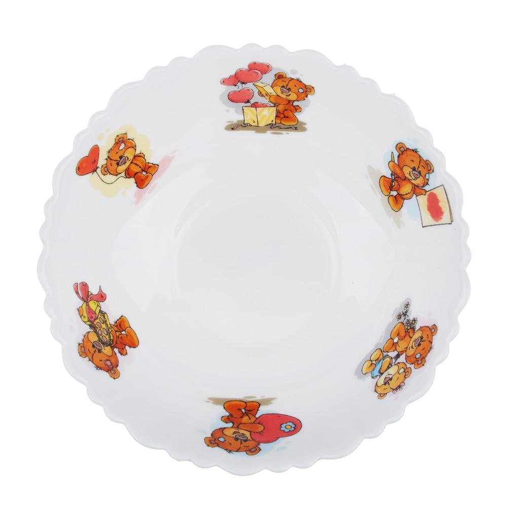 """Тарелка суповая детская 15 см, опаловое стекло, MILLIMI """"Медвежонок"""""""