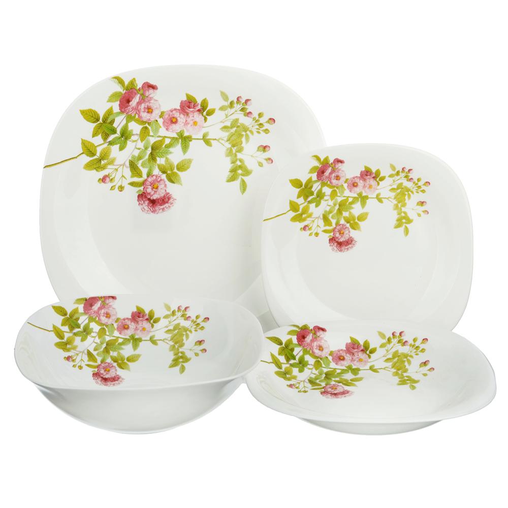 """Набор столовой посуды 13 предметов, опаловое стекло, квадратная форма, MILLIMI """"Верона"""""""