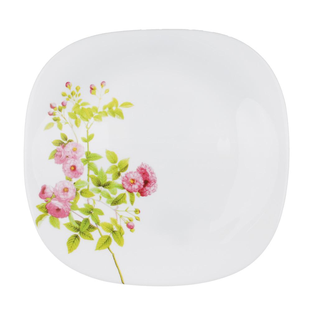 "Тарелка десертная d. 21,5 см, опаловое стекло, квадратная форма, MILLIMI ""Верона"""