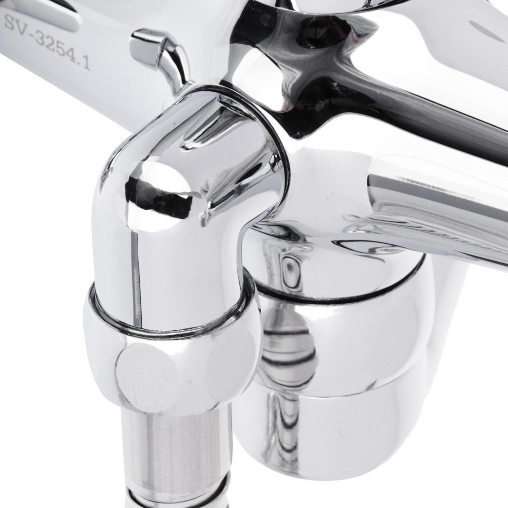 Смеситель для ванны с душем RAIN Нефрит, двухвентильный, прямой излив 35см, хром