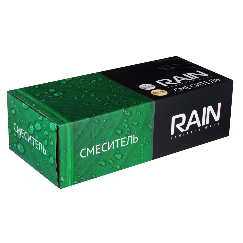 Смеситель для ванны с душем RAIN Нефрит, двухвентильный,  круглый излив 40см, хром