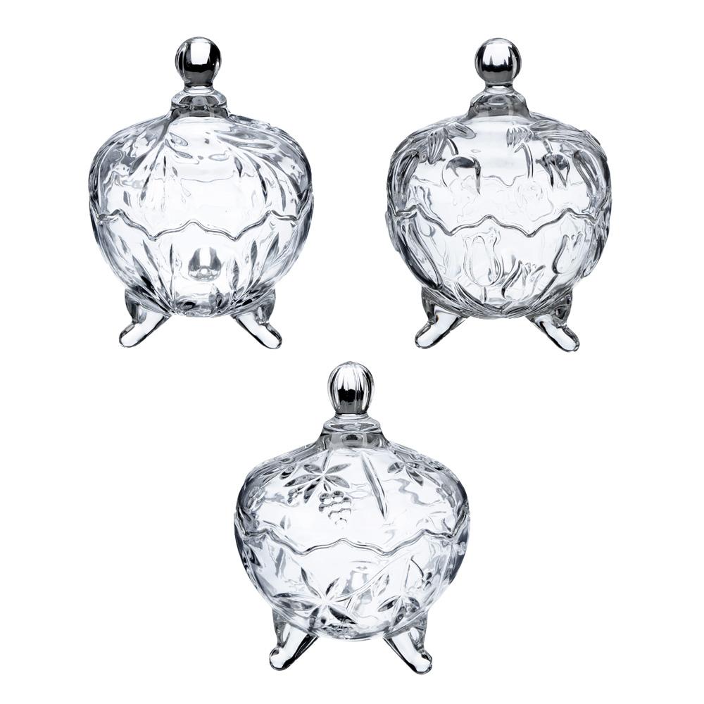"""Конфетница с крышкой, стекло, 14x18,5 см, 3 формы, """"Мариана"""""""