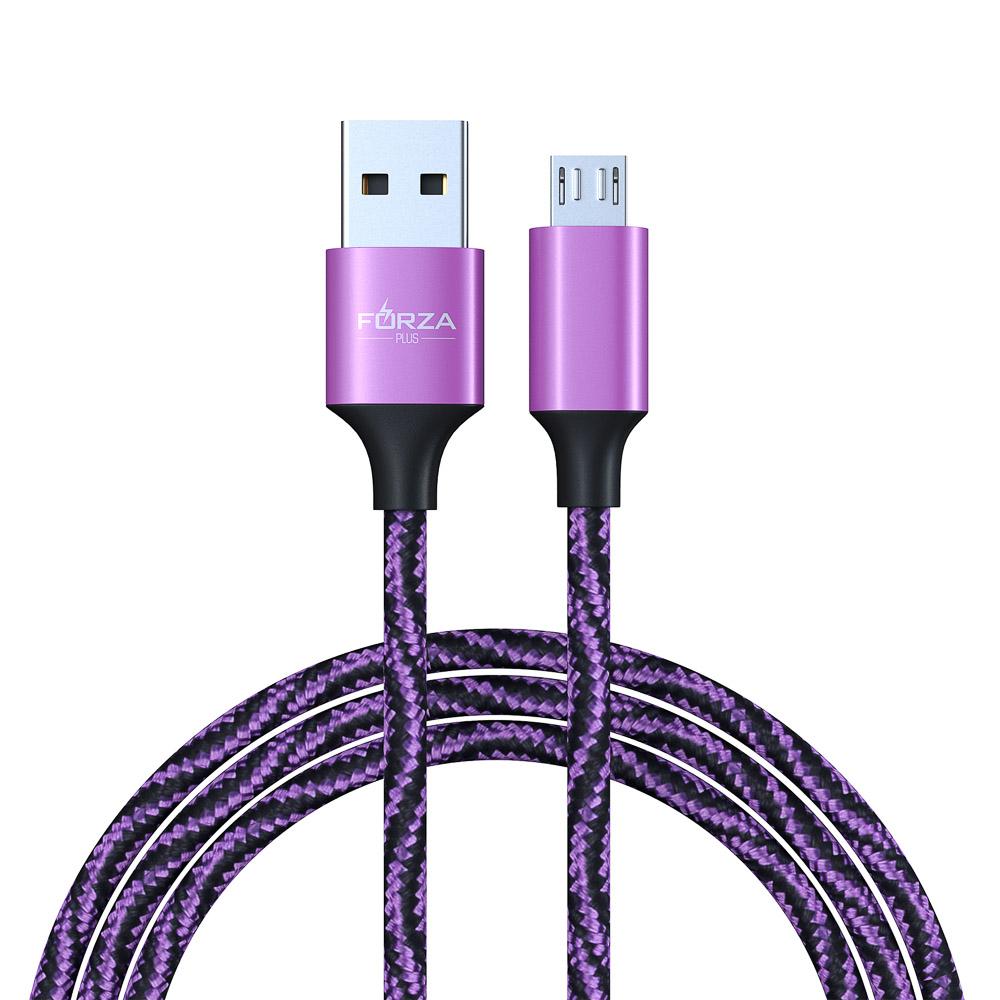 FORZA Шнур для зарядки micro USB, 1.5 А, цветная оплетка, 1м