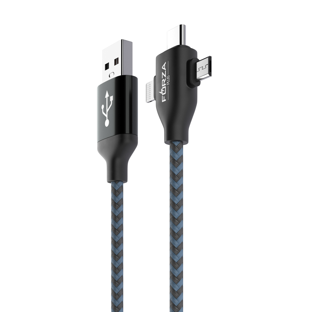 FORZA Кабель для зарядки 3 в 1, Micro USB и iP, Type-C, 1м, 2А, тканевая оплетка, коробка ПВХ