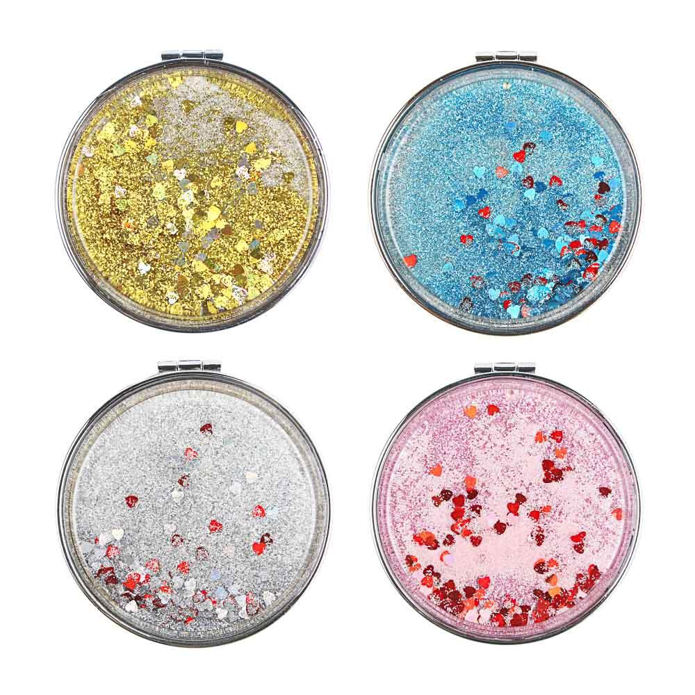 Карманное зеркало с глиттером, круглое d. 7 см, сплав, пластик, стекло, 4 цвета