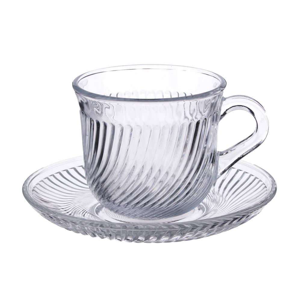 """Чайная пара: чашка 200 мл, блюдце, стекло, """"Глория"""""""