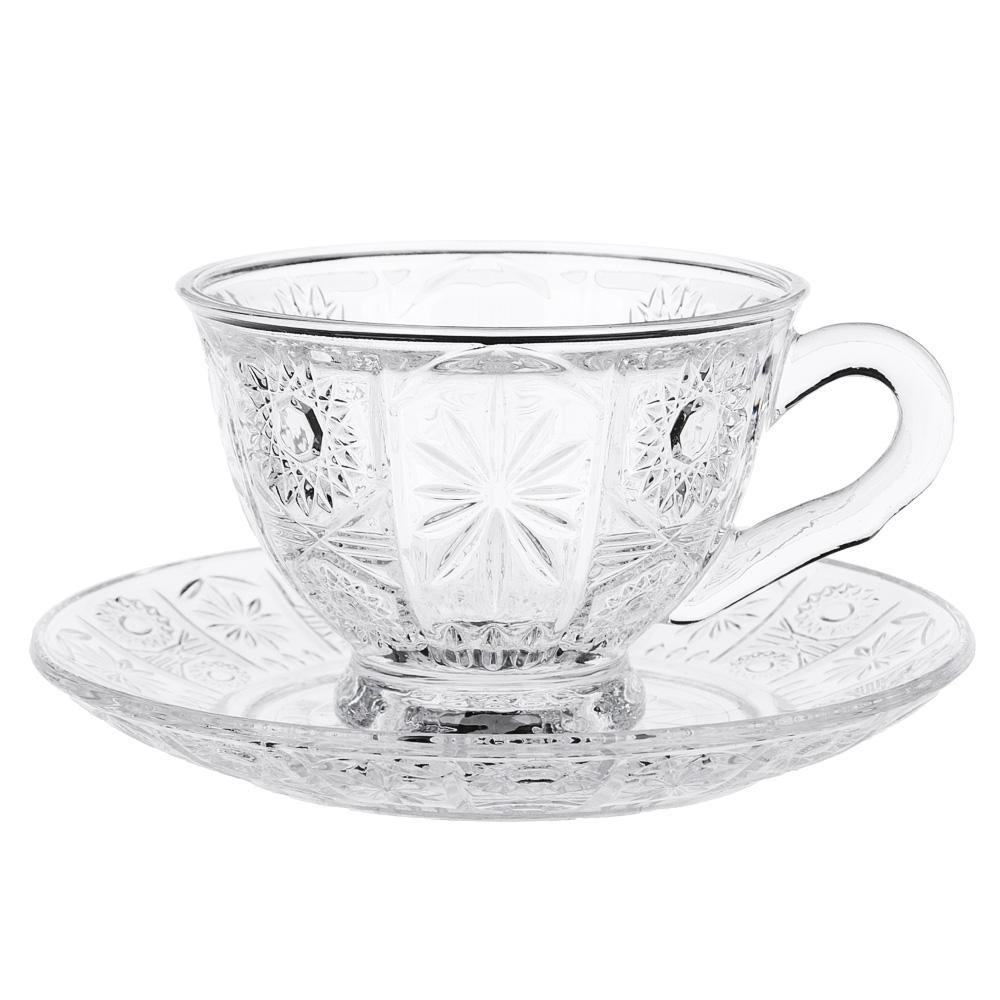 """Чайная пара: чашка 200 мл, блюдце, стекло, """"Соната"""""""