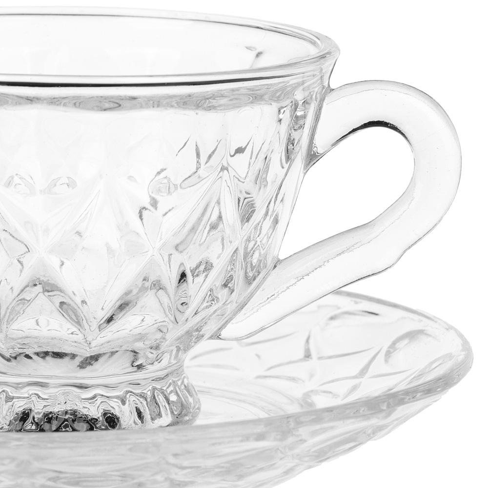 """Чайная пара (кружка 200 мл с блюдцем), стекло, """"Лидия"""""""