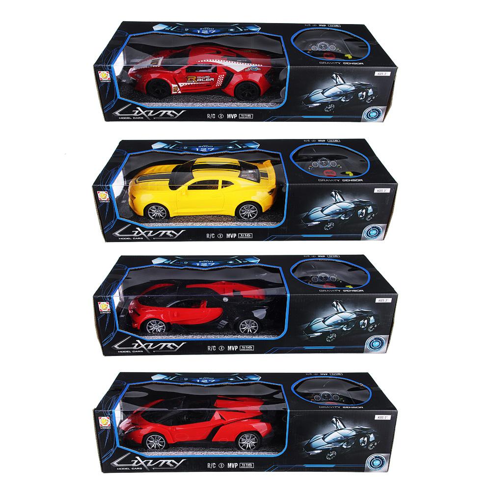 """Машина на р/у """"Спорткар"""" с аккум., 2АА, свет, пластик, резина, 25,5х11,5х9см, 4 дизайна"""