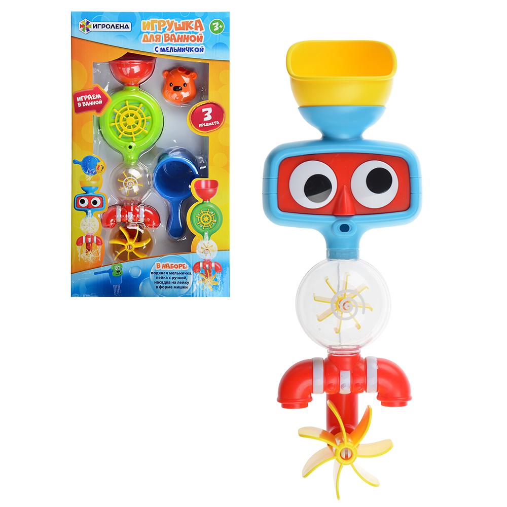 ИГРОЛЕНД Игрушка для ванной с мельничкой, пластик, 10х26х6см, 2 дизайна