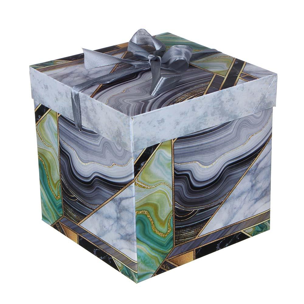 Коробка подарочная, складная, бумага, 15х15х15 см, 4 дизайна с сердцами