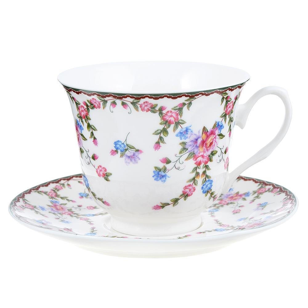 """Чайный сервиз 2 предмета, костяной фарфор, 240 мл, MILLIMI """"Изыск"""""""