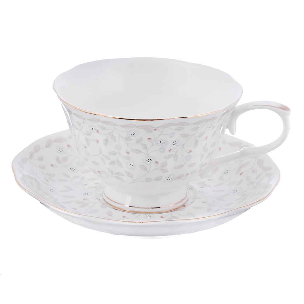"""Чайный сервиз: чашка 250 мл, блюдце 15 см, костяной фарфор, MILLIMI """"Тайна"""""""