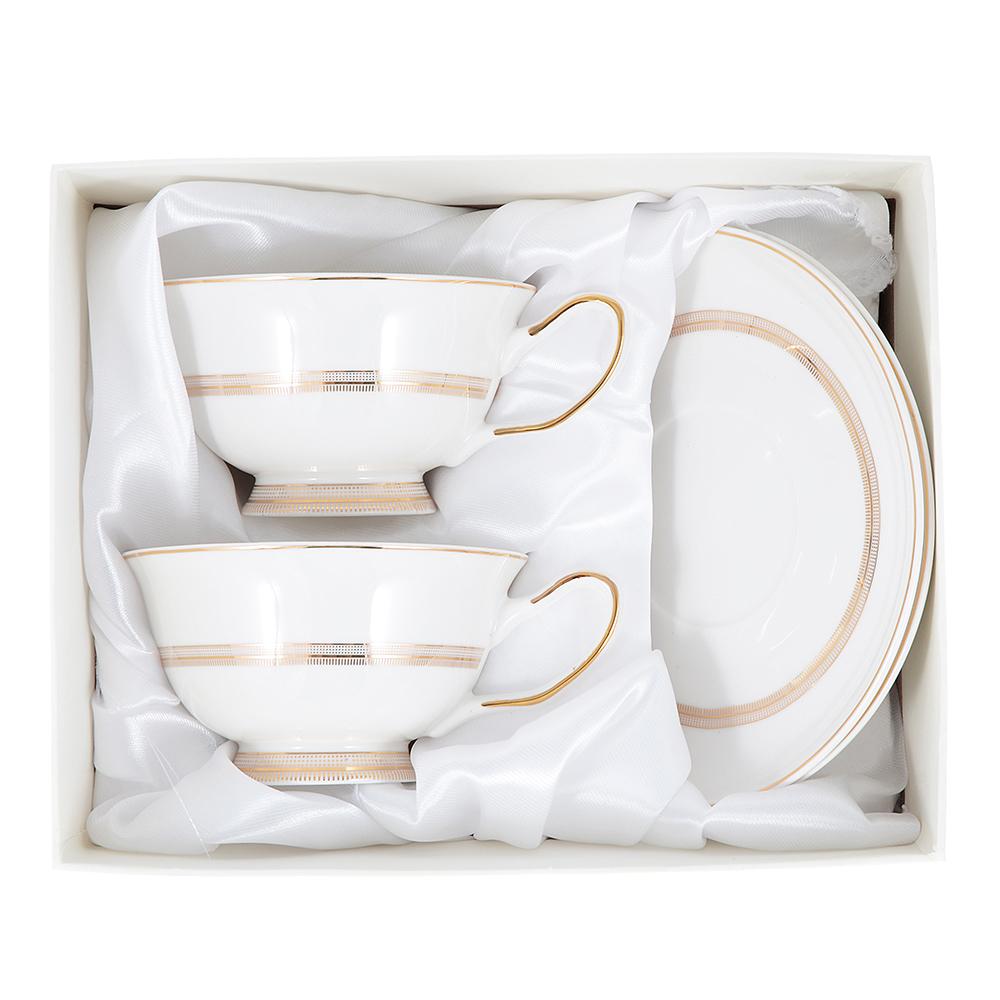 "Чайный сервиз 4 предмета, костяной фарфор, 220 мл, MILLIMI ""Тамара"""